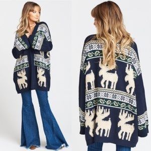 NWOT Show Me Your Mumu Moose Navy Knit Cardigan S